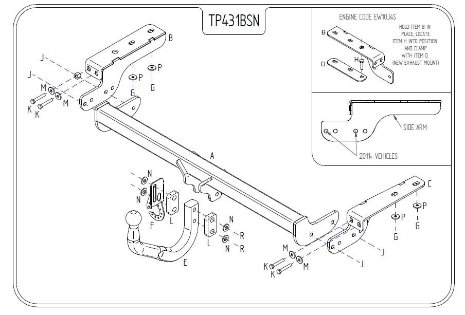 Flange Tow Bar Towbar for Citroen DS4 2011 On
