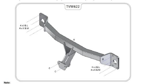 VW Touareg 2003-2018 - Tow-Trust Fixed Flange Tow Bar