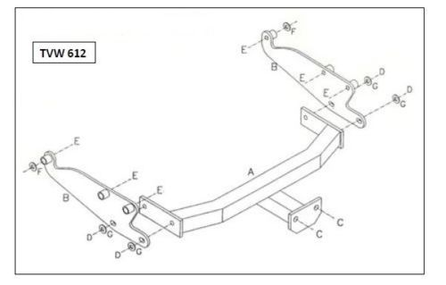 Volkswagen T4 1991 - 2003 (Inc. Step In Bumper) - Tow Trust Fixed Flange Tow Bar