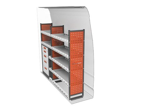 Custom (L1) - 5 Drawer, 4 Shelf Offside Maxim Racking Unit