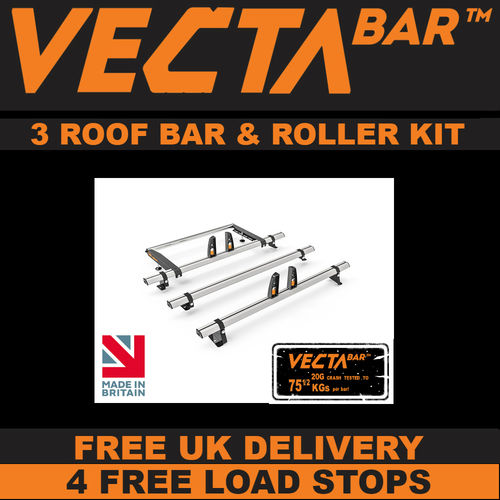 3 Bar VECTA Bar & Rear Roller Roof Bar Kit - VW T5 Low Roof, Short Wheel Base with Tailgate