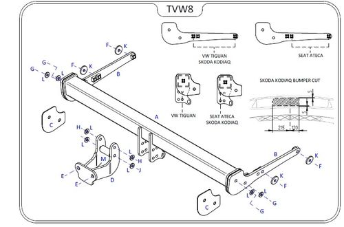 Tow Trust Fixed Flange Tow Bar Kit - Skoda Karoq 2018 Onwards