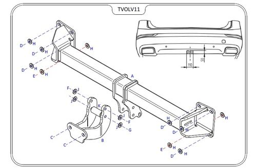 Volvo XC90 2015 Onwards - Tow Tust Flange Towbar