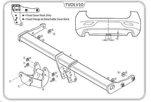 Volvo V40 Cross Country 2012 Onwards - Tow Trust Flange Towbar