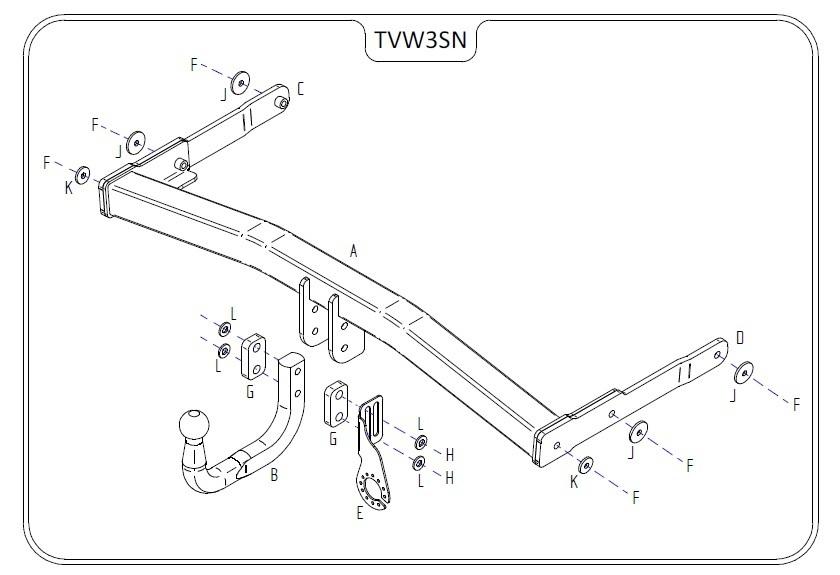 vw tiguan  inc  r-line  2008 - 2016 - tow trust swan neck towbar
