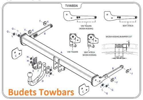 VW Tiguan (Inc. R-Line) 2016 Onwards - Tow Trust Swan Neck Towbar