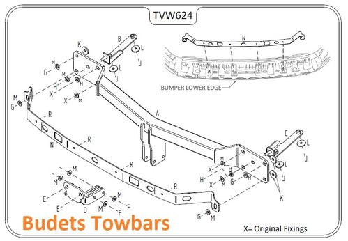 VW Caddy Maxi (Inc. models with OEM reverse sensors) 2008 Onwards - Tow Trust Flange Towbars