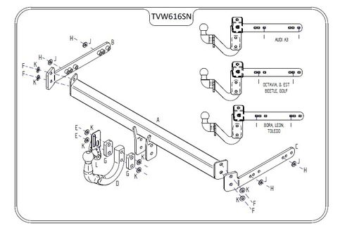 VW Beetle (Not 4WD/RSI) (Inc. Convertible) 1999 - 2012 - Tow Trust Swan Neck Towbar