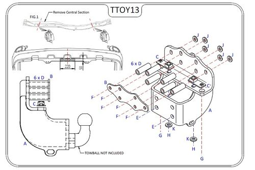 Toyota Landcruiser J20 (V8 Only) 2008 Onwards - Tow Trust Flange Towbar