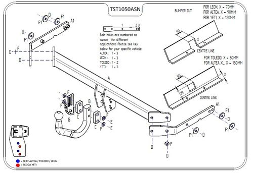 Seat Toledo Swan Neck Towbar 2004 - 2013 (NOT FR Model) - Tow Trust