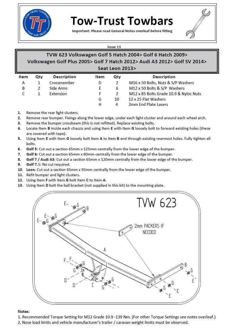 Flange Towbar for Seat Leon 3//5 Door Hatch 2013 to 2017 inc SC /& FR TVW623
