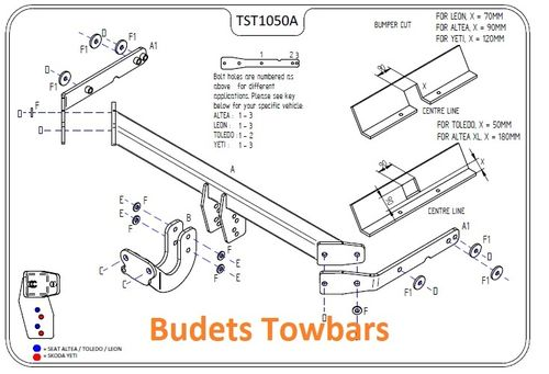 Seat Altea (Inc. XL & Freetrack 4) 2004 Onwards - Tow Trust Flange Towbars