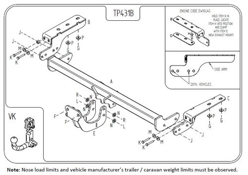 Peugeot 308 Hatch 2007 - 2013 (NOT Sports Bumper) - Tow Trust Flange Towbar