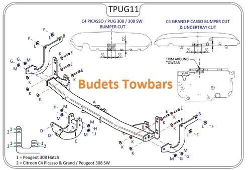 Peugeot 308 Hatch (Not GT Line) 2013 Onwards - Tow Trust Flange Towbar