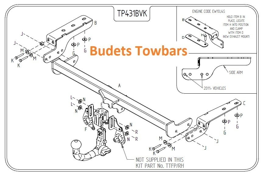 Peugeot 307 Hatch (Not CC) 2001 - 2008 - Tow Trust Detachable Towbar