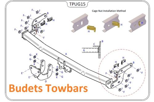 Peugeot 208 Hatch (Not GTI) 2012 Onwards - Tow Trust Flange Towbar
