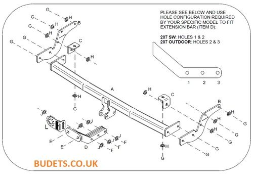 Peugeot 207 Estate / SW (Inc. Outdoor) 2007 - 2013 - Tow Trust Flange Towbar