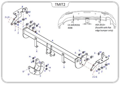 Mitsubishi ASX (2WD & 4WD) 2010 Onwards - Tow Trust Flange Towbar