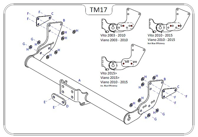 Mercedes V Class (W447) 2015 Onwards - Tow Trust Flange Towbar