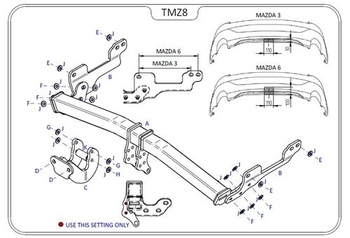 Mazda 3 Hatch (BM) (Not Fastback / Saloon) 2014 Onwards - Tow Trust Flange Towbar