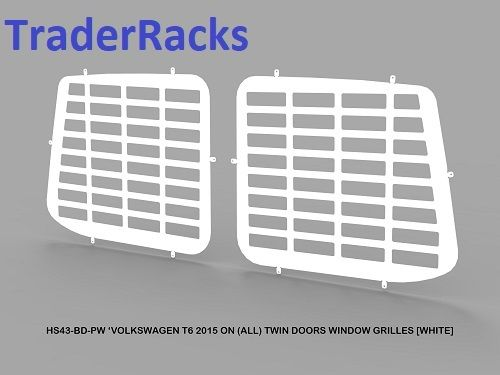 VW Transporter T6 2014 - 2018 - Punched White Rear Window Grilles