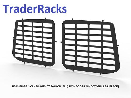 VW Transporter T6 2014 - 2018 - Punched Black Window Rear Grilles