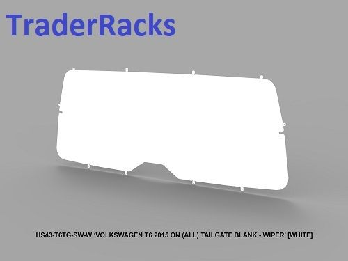 VW Transporter T6 2014 - 2018 - Solid White Window Blank with Wiper Cut