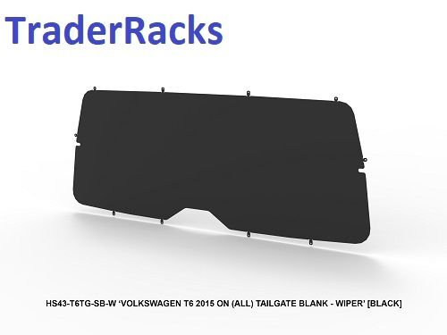 VW Transporter T6 2014 - 2018 - Solid Black Window Blank with Wiper Cut