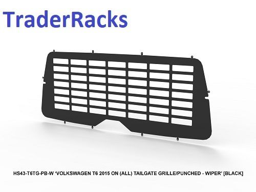 VW Transporter T6 2014 - 2018 - Punched Black Window Grille with Wiper Cut