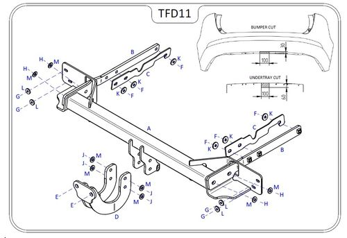 Ford Mondeo Estate 2015 Onwards - Tow Trust Flange Tow Bar
