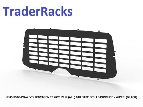 VW T5 Transporter 2002 - 2014 - Punched Black Window Grille with Wiper Cut