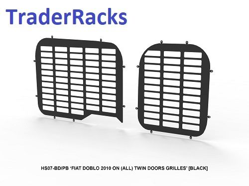Fiat Doblo 2010 Onwards - Punched Black Window Grilles