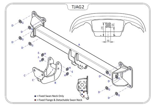 Jaguar XE 2015 Onwards - Tow Trust Flange Towbar