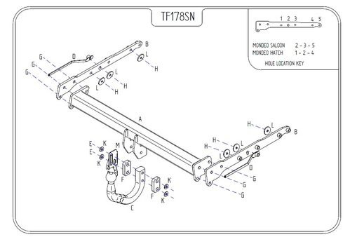 Ford Mondeo Hatch (All models) 2007 - 2015 - Tow Trust Swan Neck Towbar