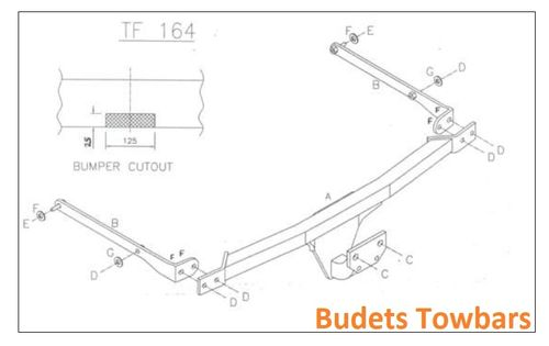 Ford Fiesta (No. Plate on Tailgate) 2002 - 2008 - Tow Trust Flange Towbar