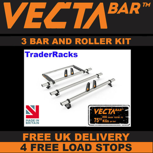 Ford Connect (Low Roof, SWB) 2014> - 3 Bar & Roller VECTA Bar Roof Rack Kit