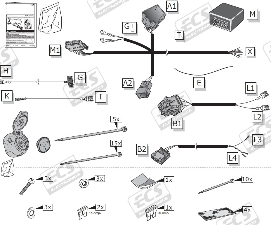 July 2018 to 2019 Mercedes Sprinter 13 pin Dedicated Towing Electrics Kit