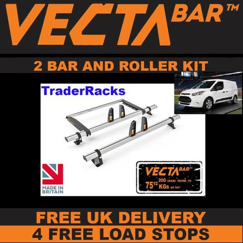 Ford Transit Connect Roof Bars 2014 > 2020 2 x VECTA Bar Roof Racks + Roller